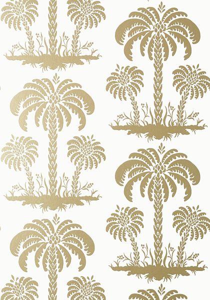 Thibaut Palm Island Wallpaper In Metallic Gold