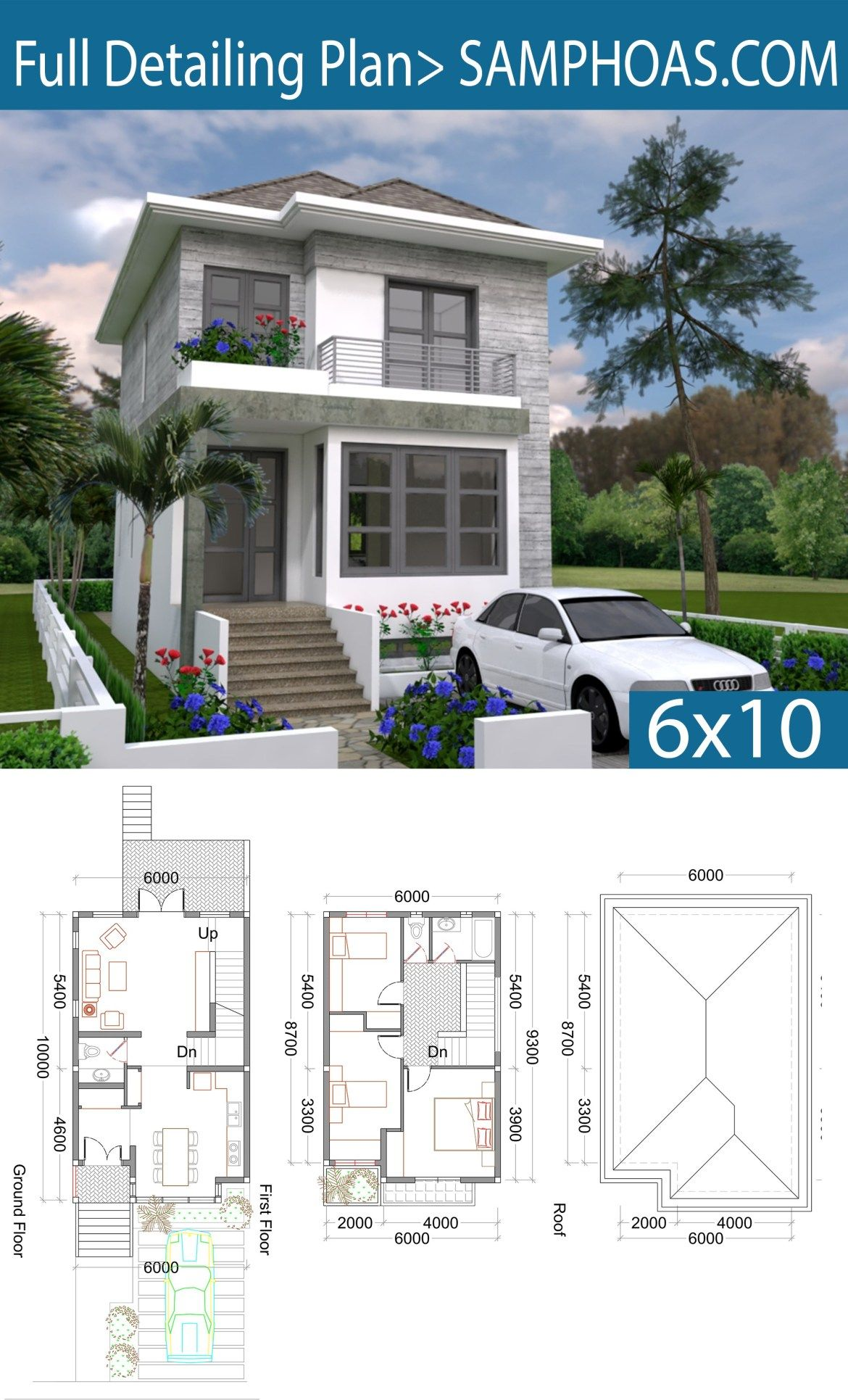 3 Bedrooms Small Home Design Plan 6x10m Samphoas Plansearch Small House Design Home Design Plan House Front Design