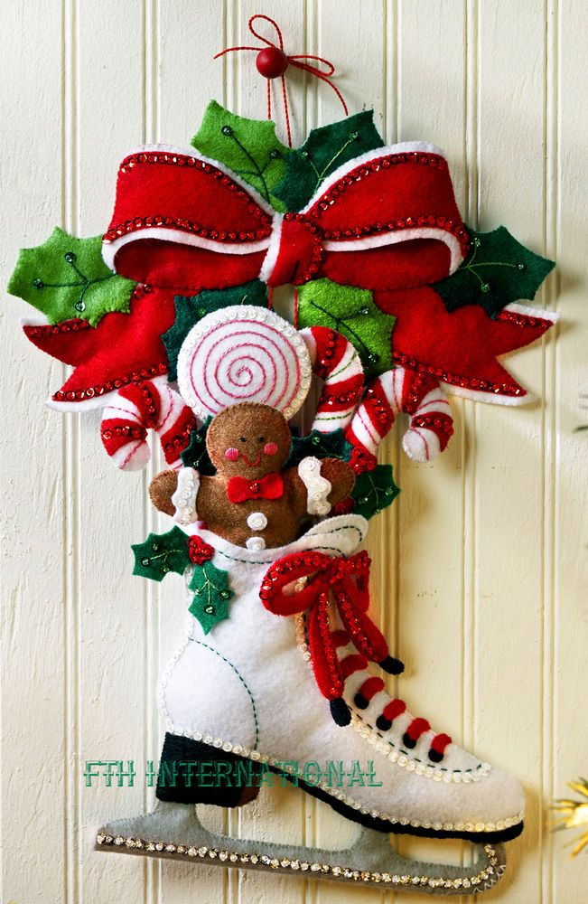 Christmas Wall Hanging Decorations.Details About Bucilla Holiday Skate Felt Christmas Wall