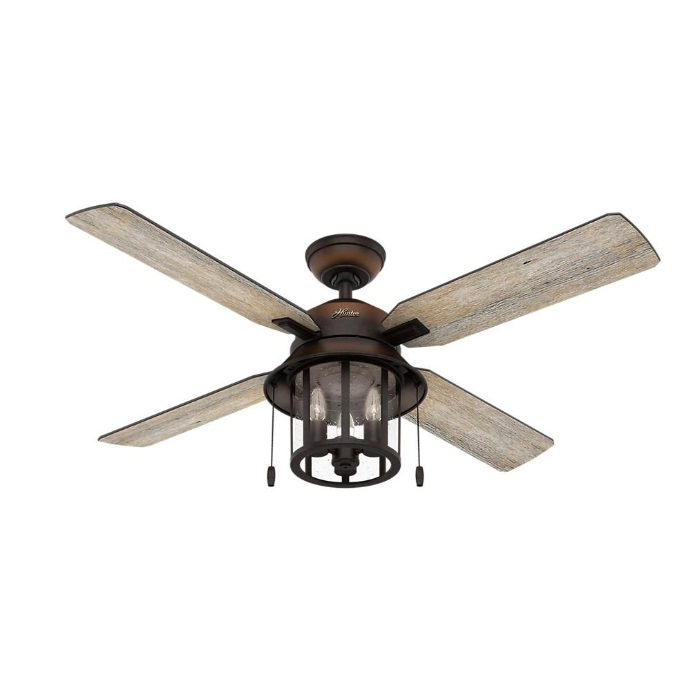 Hunter Copperhill 52 In Led Indoor Outdoor Brittany Bronze Ceiling Fan With Light Kit In 2020 Bronze Ceiling Fan Fan Light Ceiling Fan