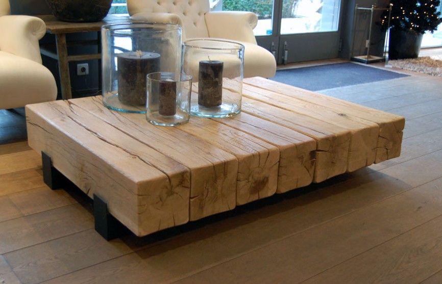 Schöne Wohnzimmertische ~ Schöner massivholz couchtisch in balken optik wohnzimmertische