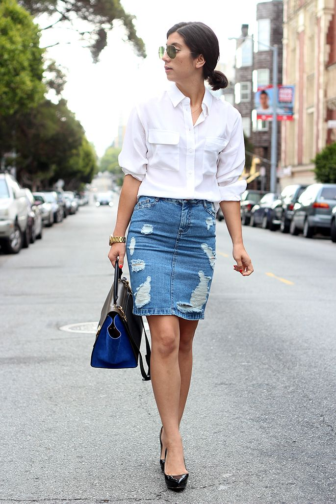 4553a994a This Time Tomorrow: Dressing up a distressed skirt with classics: white  button down and black heels
