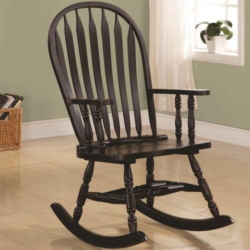 Cappuccino Arrow Windsor Back Rocking Chair Monarch Specialties