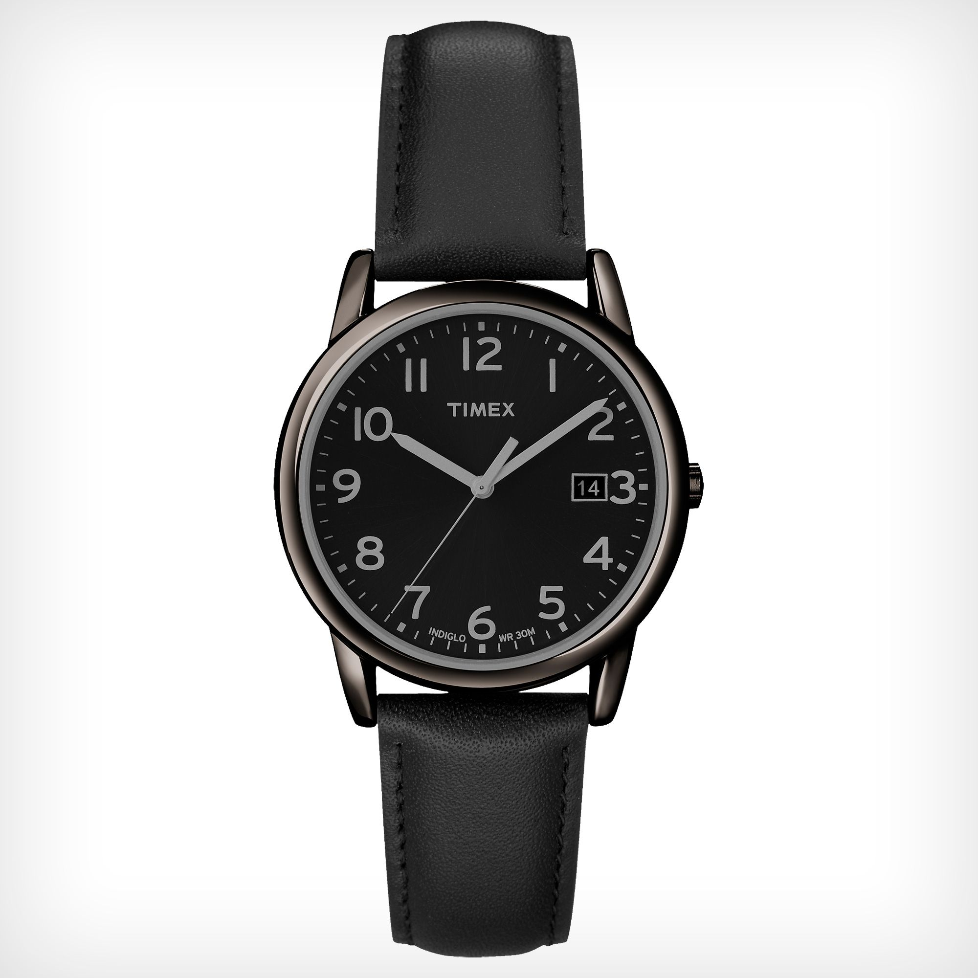 leather classic black pin watches