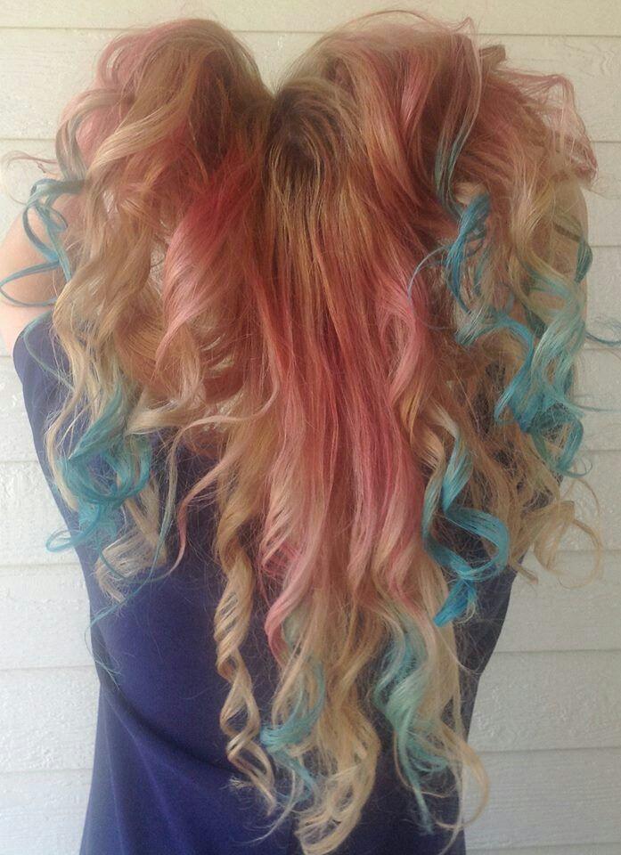 Colored Curls Hairchalk Hair Chalk Long Hair Styles Hair