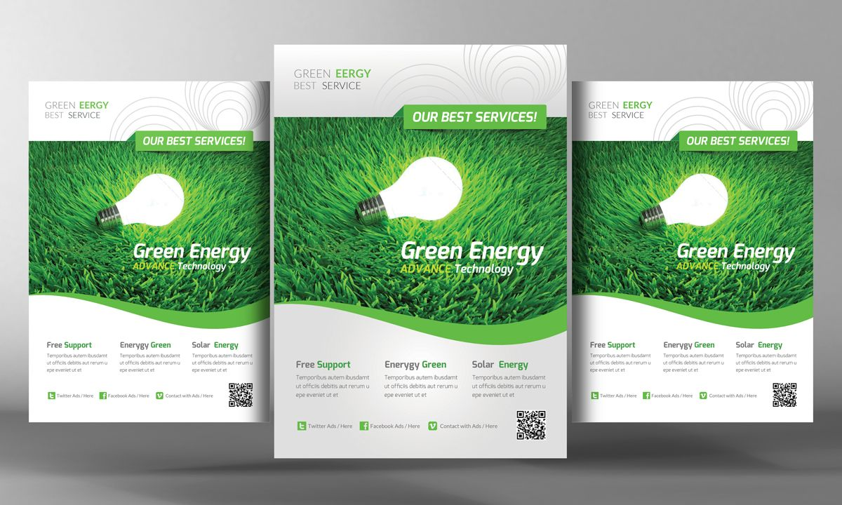 Green Energy Flyer Template By Business Templates On Creative