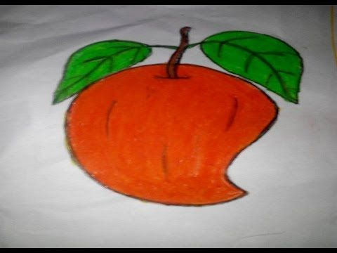 How To Draw And Colour A Mango Step By Step For Kids Colour Learning Coloring For Kids Baby Art Paper Lamp