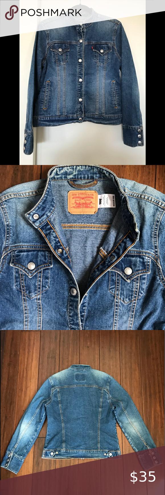 Levi Strauss Collarless Blue Denim Jeans Jacket Levi Denim Jeans Jean Jacket [ 1740 x 580 Pixel ]