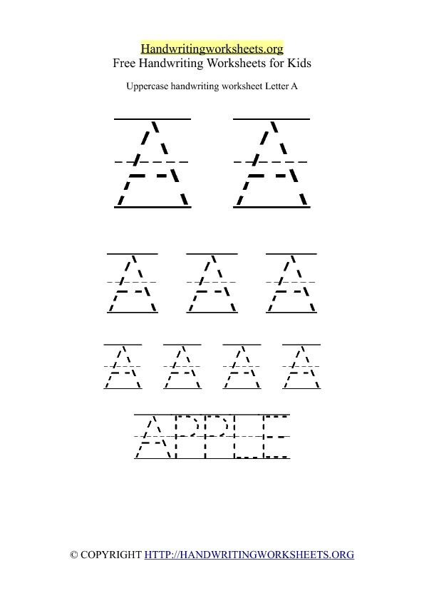 Uppercase Handwriting Worksheet A Ped Ot Ideas Pinterest