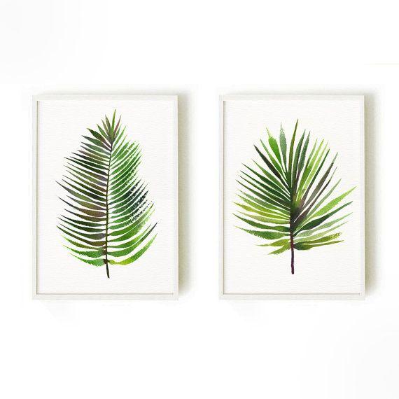 Palm leaf watercolor painting Tropical art Botanical by colorZen ...