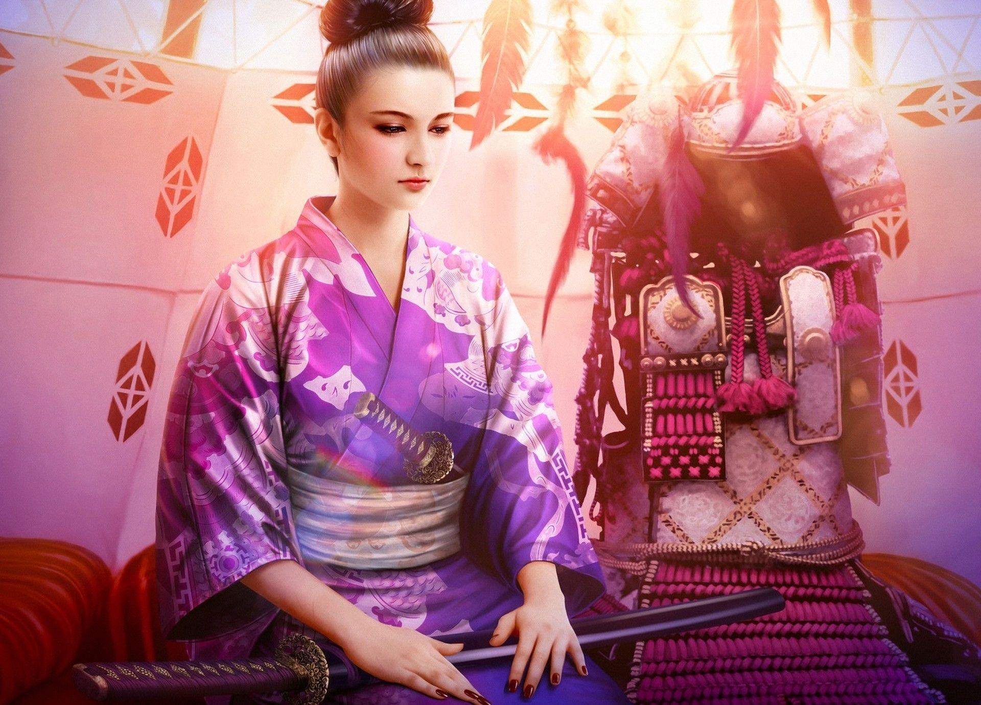 Fantasia Legend Of The Five Rings Woman Kimono Espada Katana Japão ...