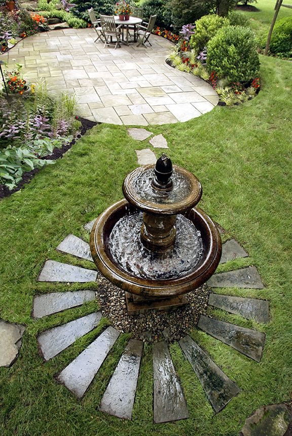 Patio With Fountain   Built By Gasper