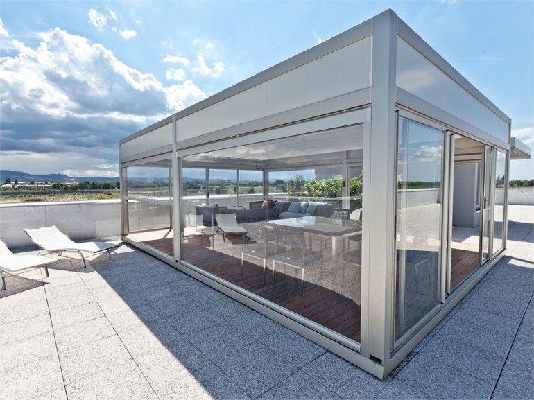 Pergolato in alluminio con copertura scorrevole Pergotenda® KUBO by ...