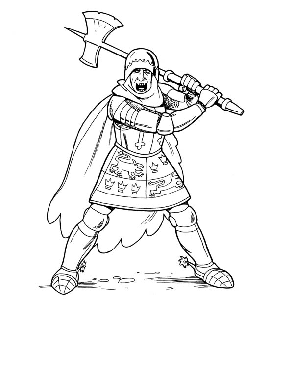 Knight With Giant Axe Coloring Page Coloring Sky