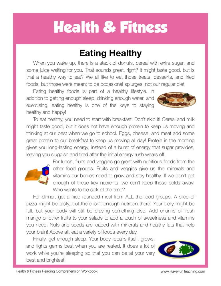 Eating Healthy Teaching Reading Comprehension Pinterest