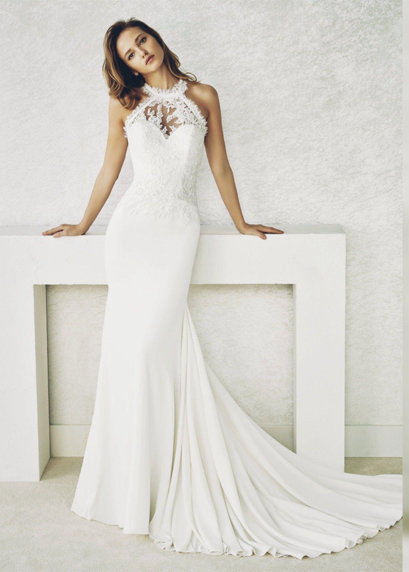 Halter Neck Ivory Lace Chiffon Wedding Dress In 2020 Wedding Dresses White Prom Dress Chiffon Wedding Dress
