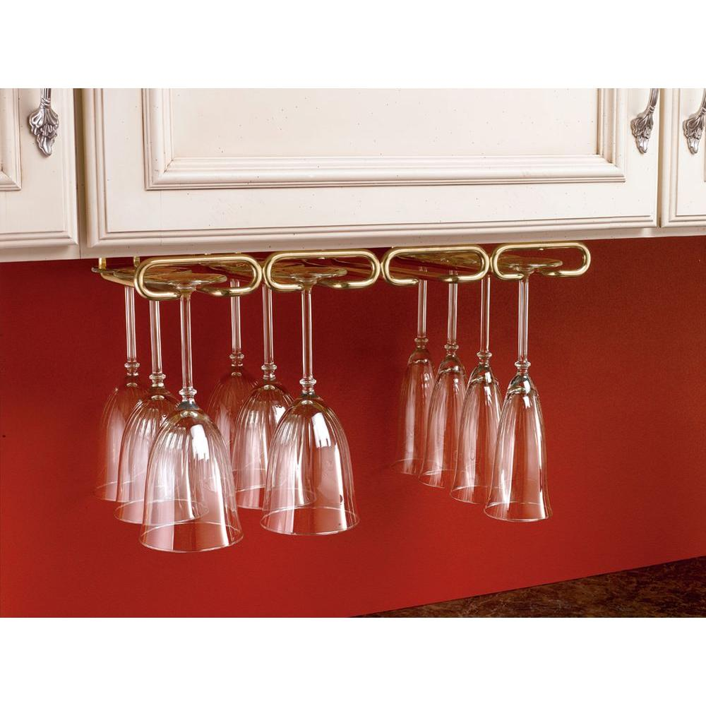 2 In H X 17 In W X 11 In D Under Cabinet Hanging Quad Wine Glass Holder In Brass Yellow Hanging Wine Glass Rack Wine Glass Rack Stemware Holder