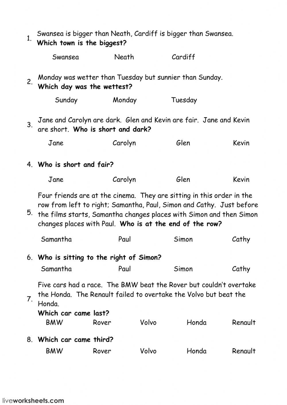 Logic Problems Interactive Worksheet Logic Problems Logic And Critical Thinking Logic Questions [ 1411 x 1000 Pixel ]