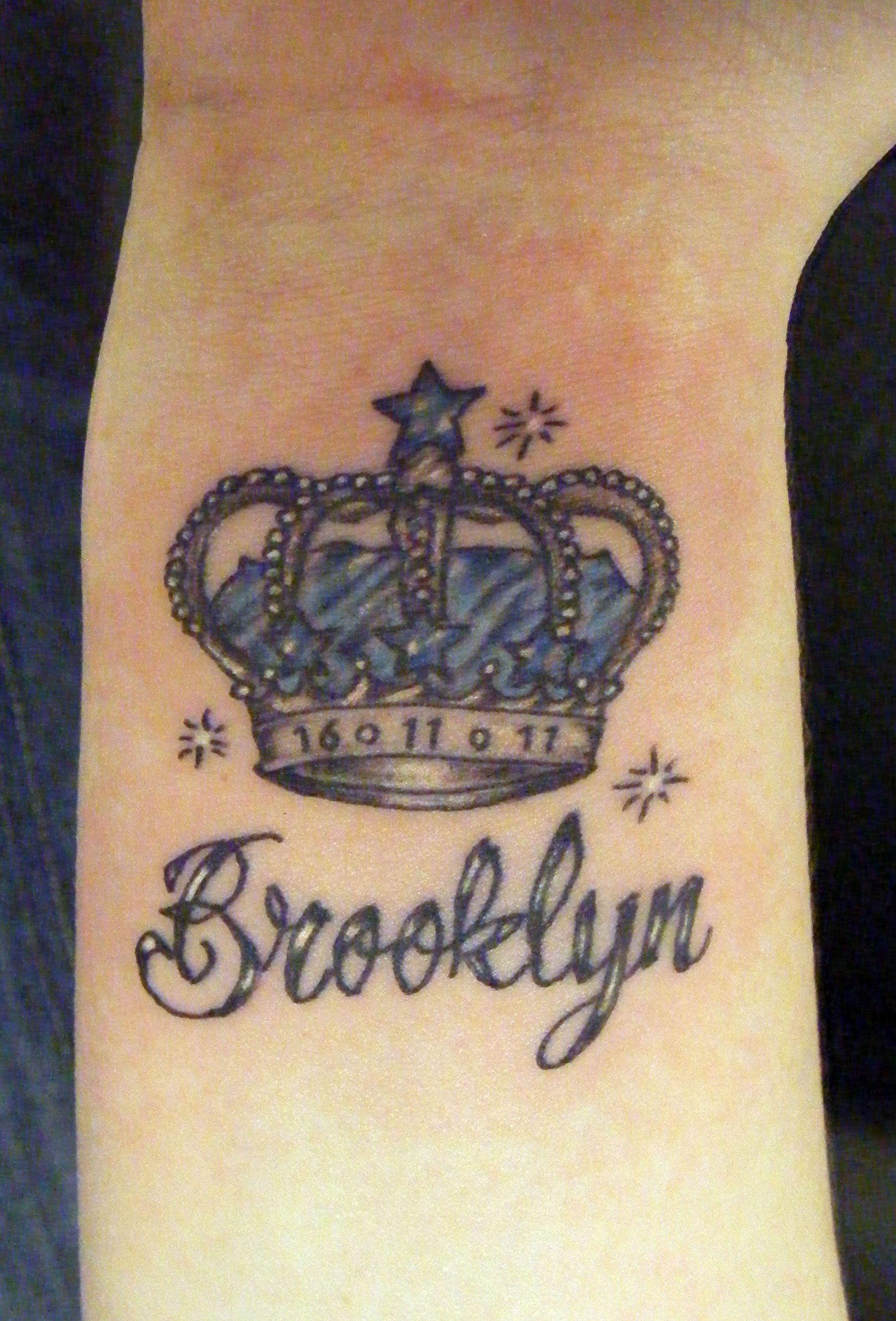 Memorial brooklyn crown tattoo on wrist crown tattoo for Brooklyn tattoo ideas