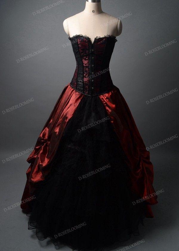 ea16b05988 Red Black Long Gothic Prom Dress D1041 - D-RoseBlooming
