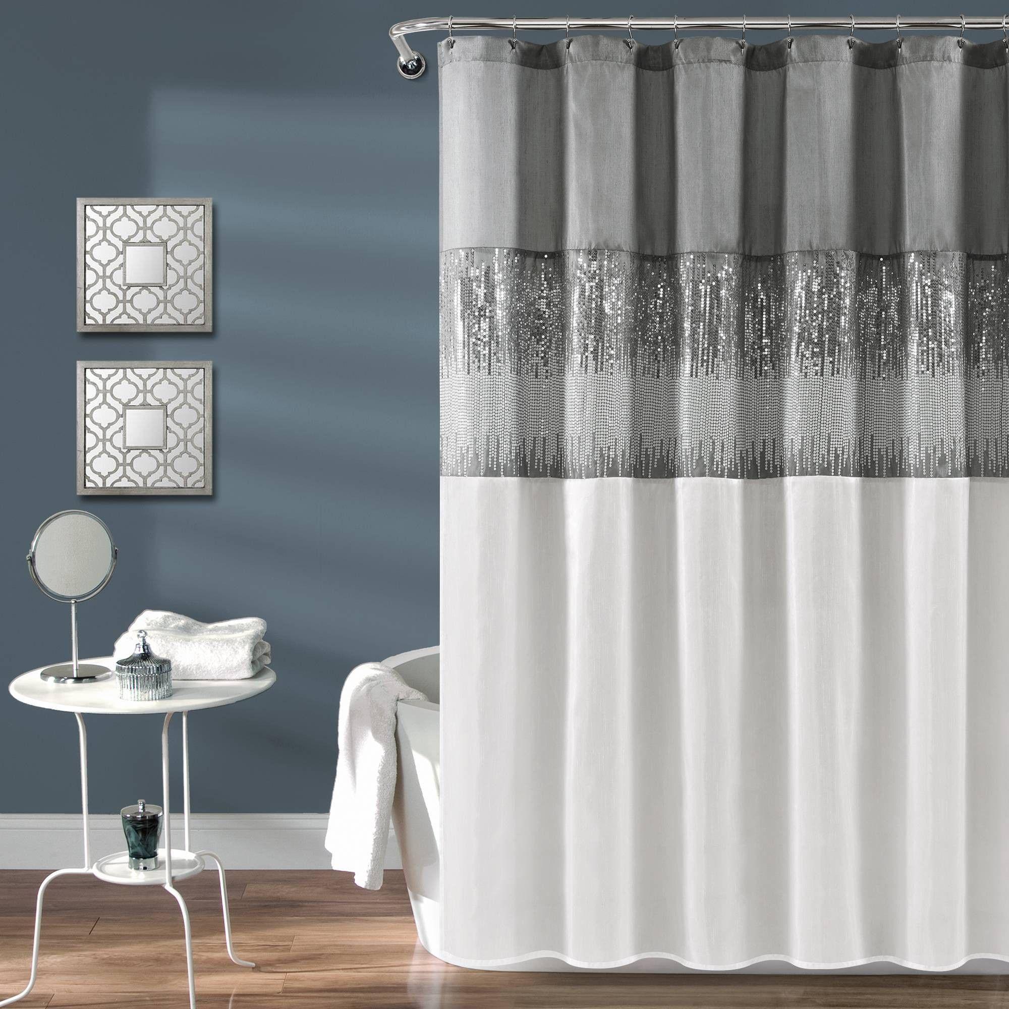 Night Sky Shower Curtain Gray White Lush Decor Adult Unisex In