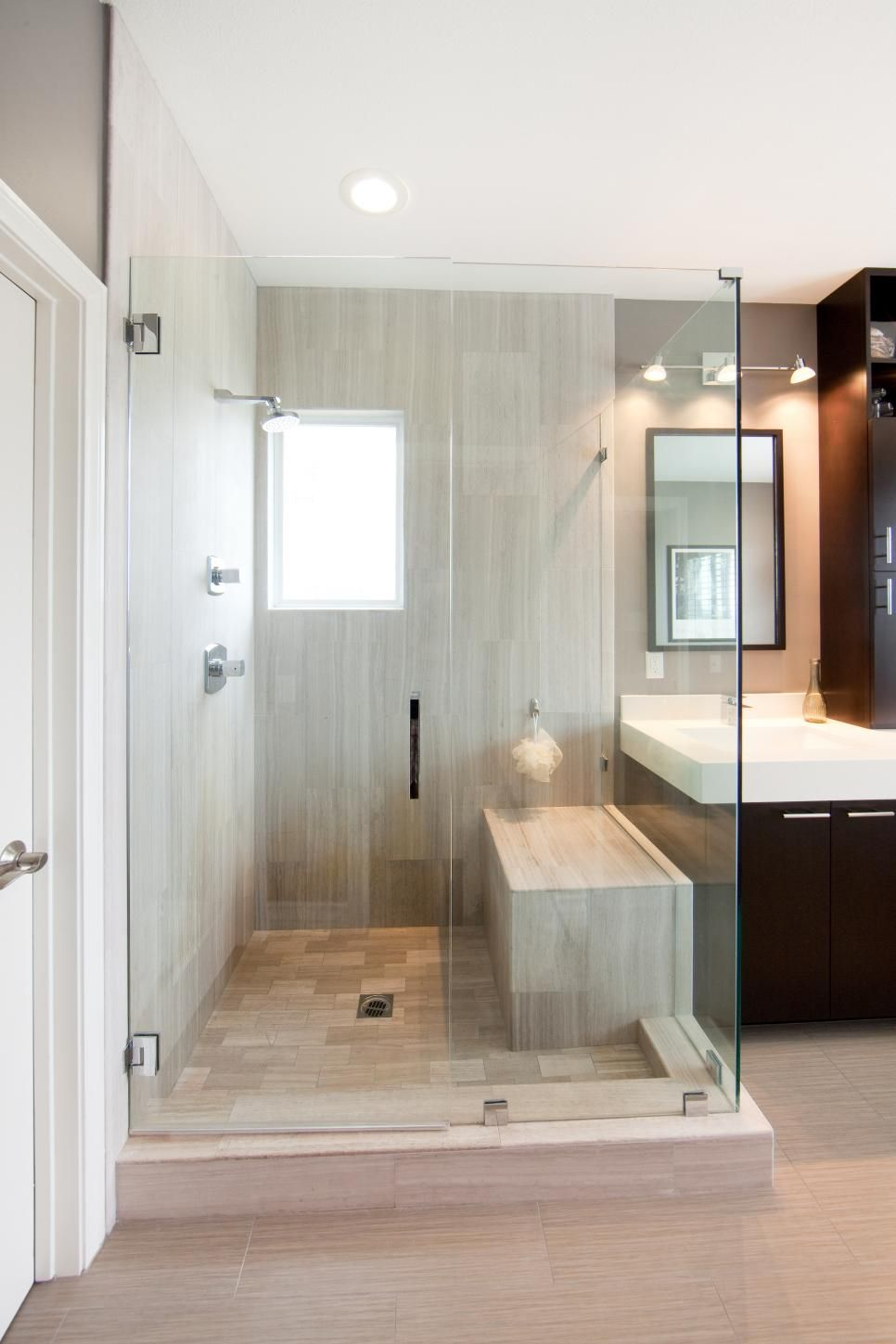 The shower is an important part of the design of this modern ...