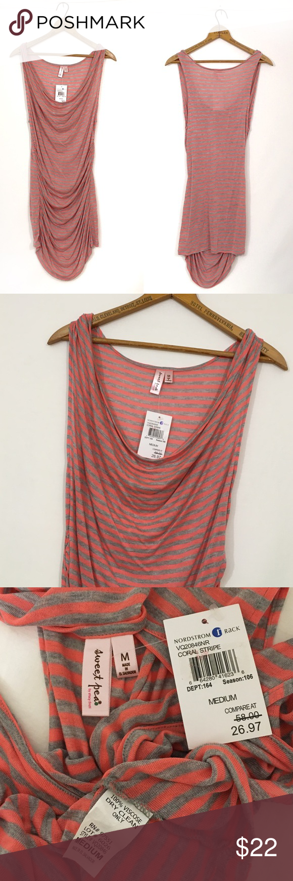 "SWEET PEA STACY FRATI ruched cowl neck stripe New condition; tag attached. 100% viscose. Bust 34 with a ton of stretch length 31"" (extra long) color: coral stripe Sweet Pea Tops Tank Tops"