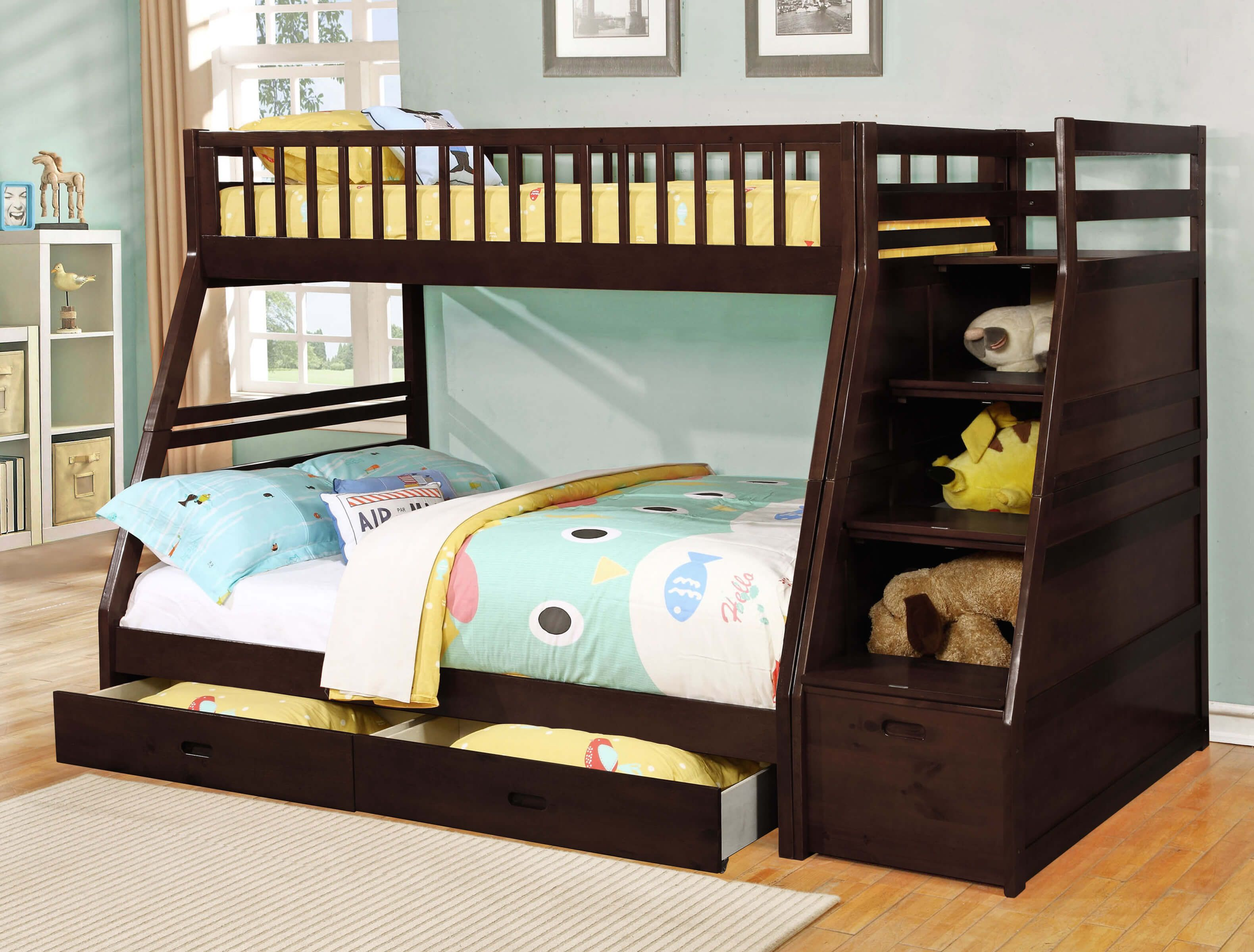 24 Designs Of Bunk Beds With Steps Kids Love These Etagenbett Schreibtisch Coole Etagenbetten Bett Mit Schubladen
