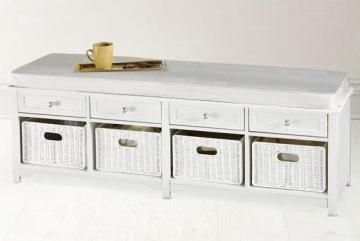 Oxford 60 W Storage Bench With Four Baskets Ivory Fabric Benches Entryway Furniture Homedecorators