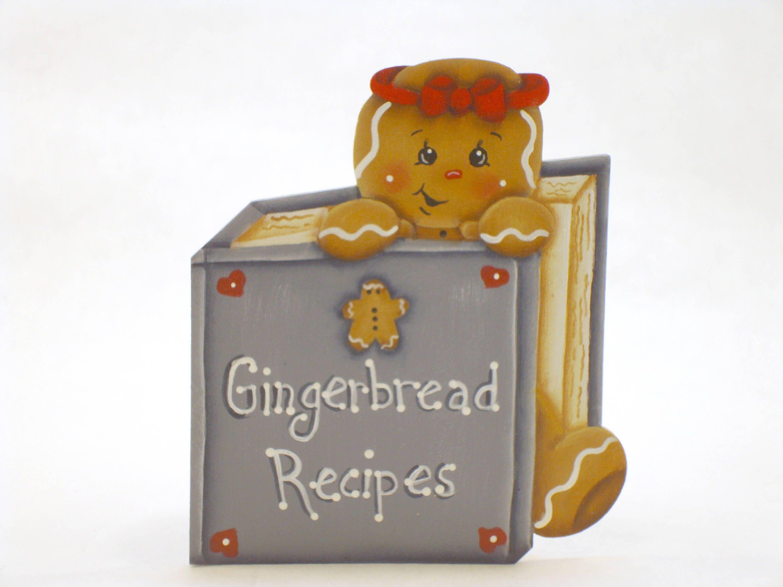 Gingerbread Recipes, Item #FPH177, Gingerbread Fridge Magnet and/or Shelf Sitter, ByBrendasHand, Gingerbread Kitchen, Gingerbread Decor by ByBrendasHand on Etsy