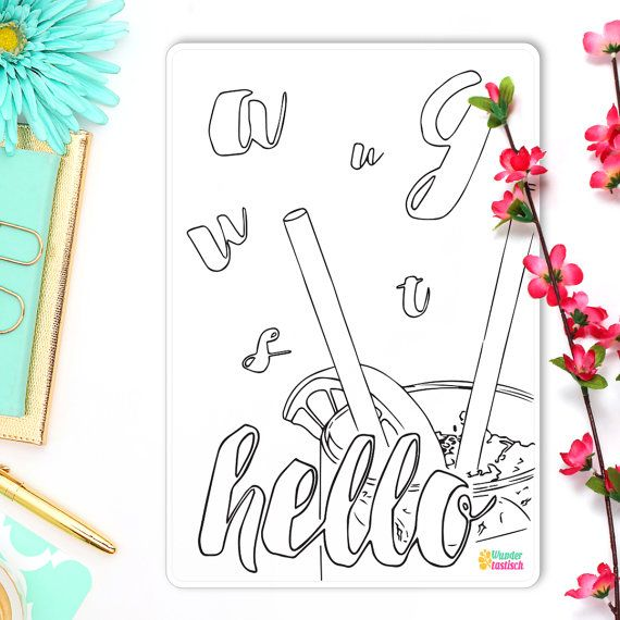 Hello August Coloring Sticker Monthly Bullet Journal Sticker