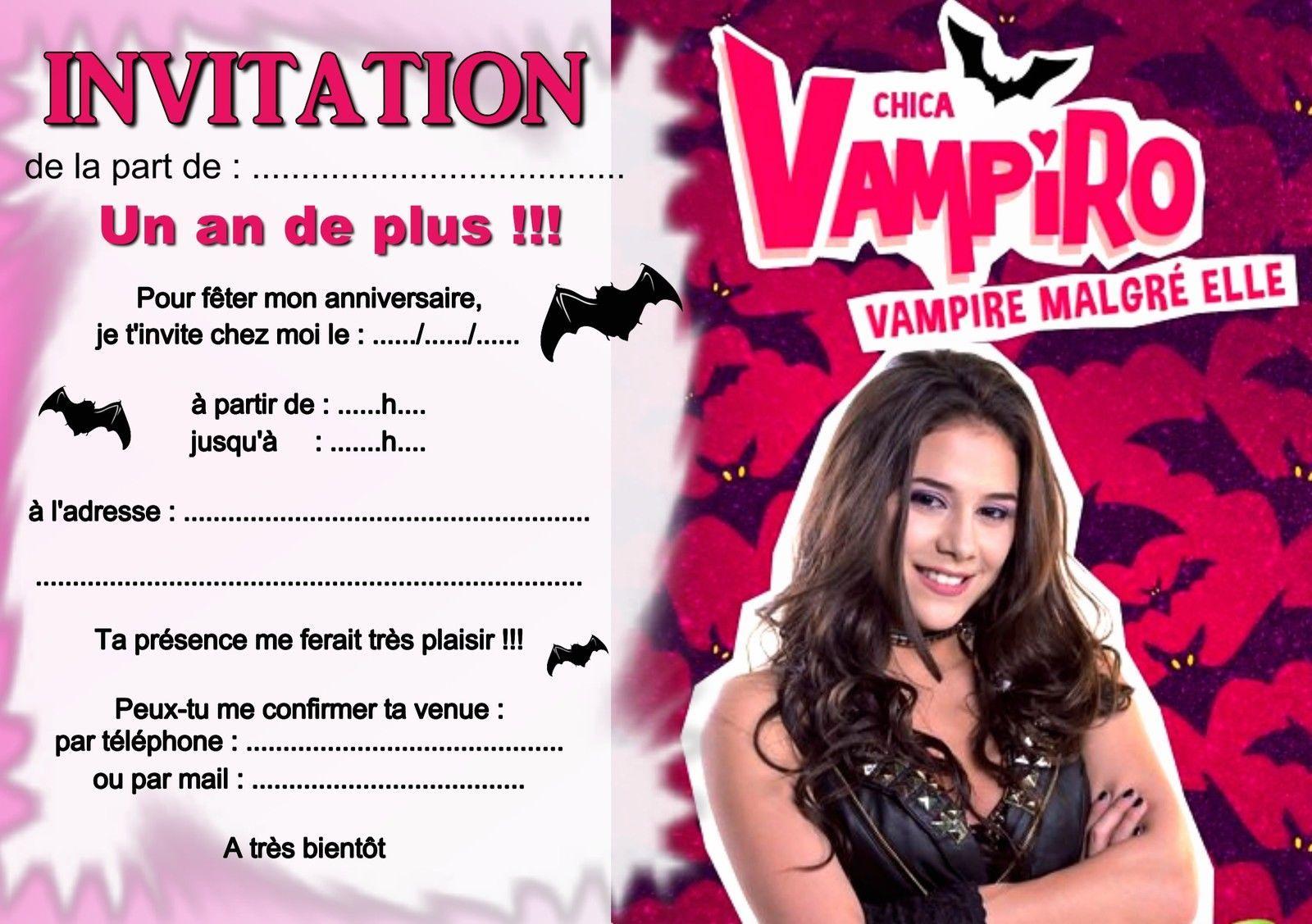 Connu 5 ou 12 cartes invitation anniversaire chica vampiro REF 325 • EUR  NR61