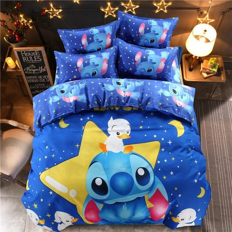 3D Disney Stitch Quilt Cover Bedding Set Duvet Cover Pillow Case Kids Bedclothes