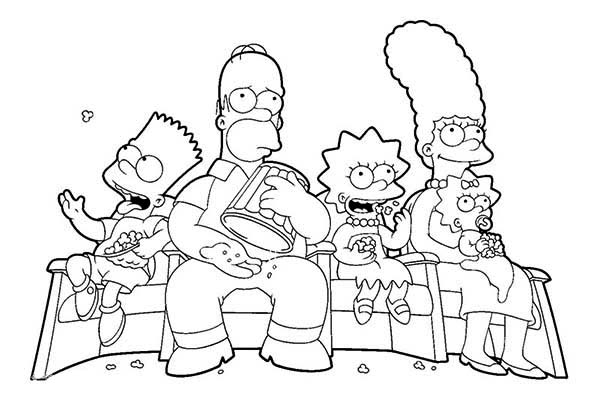 The Simpsons Family Watching Tv Coloring Page Coloring Sun Cartoon Coloring Pages Coloring Pages Family Coloring Pages
