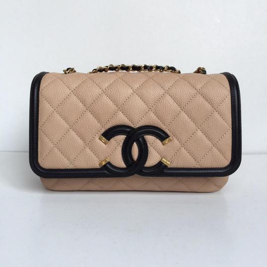 954efb6c7ff8 Chanel Beige/Black CC Filigree Flap Bag 2 | handbags in 2019 | Bags ...