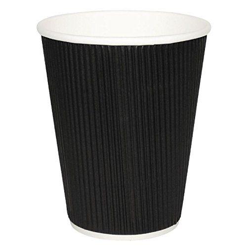 Fiesta CM541 Takeaway Kraft Coffee Cups Ripple Wall Black Pack of 25 12 oz