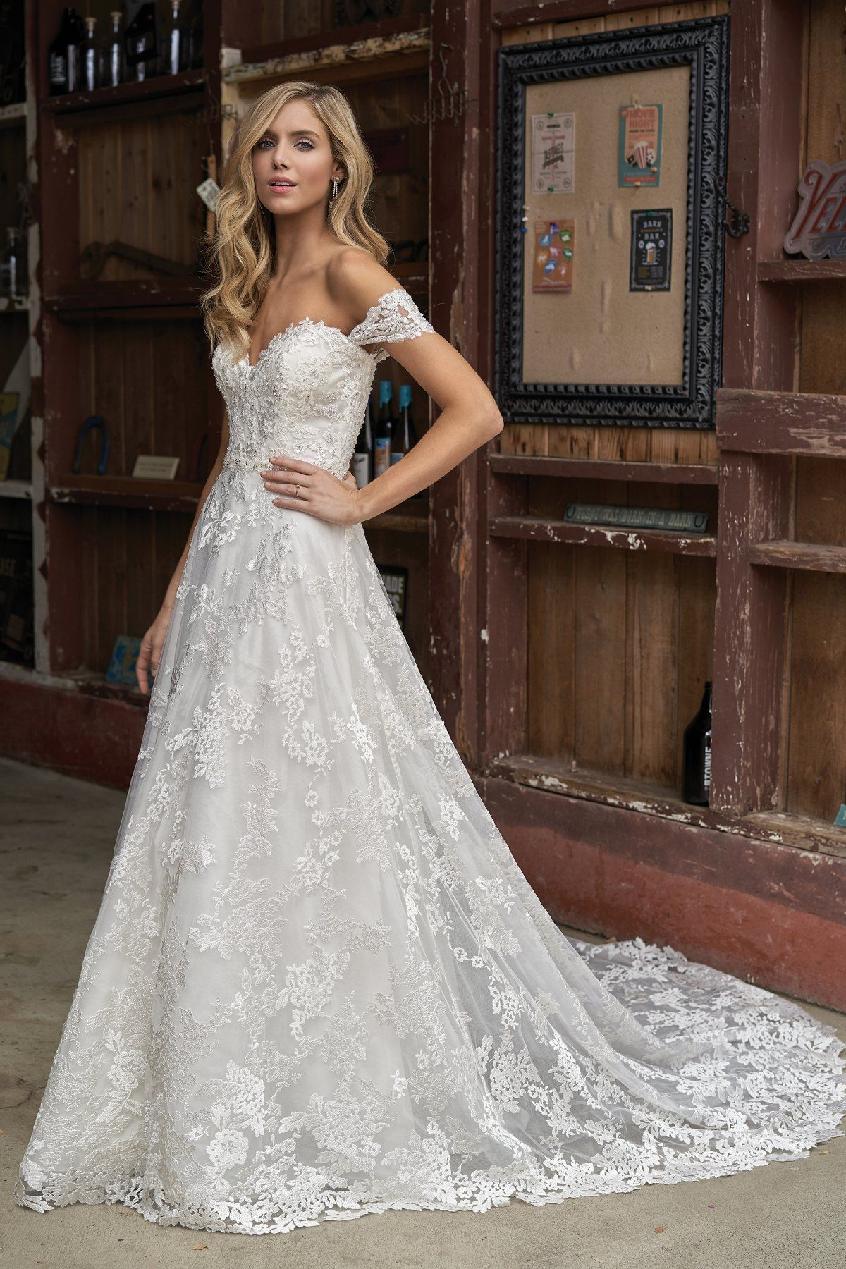 F211013 Beaded Sweetheart Neckline Embroidered Lace Wedding Dress