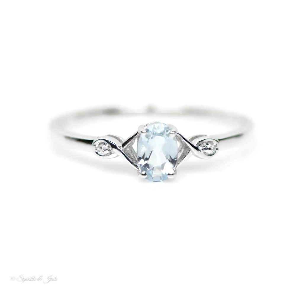Sterling Silver Genuine Aquamarine Oval and Diamond Ring Stone