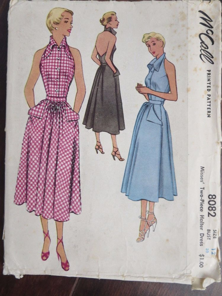 Vintage 1950 McCall 8082 Misses 2 piece halter dress sewing pattern ...