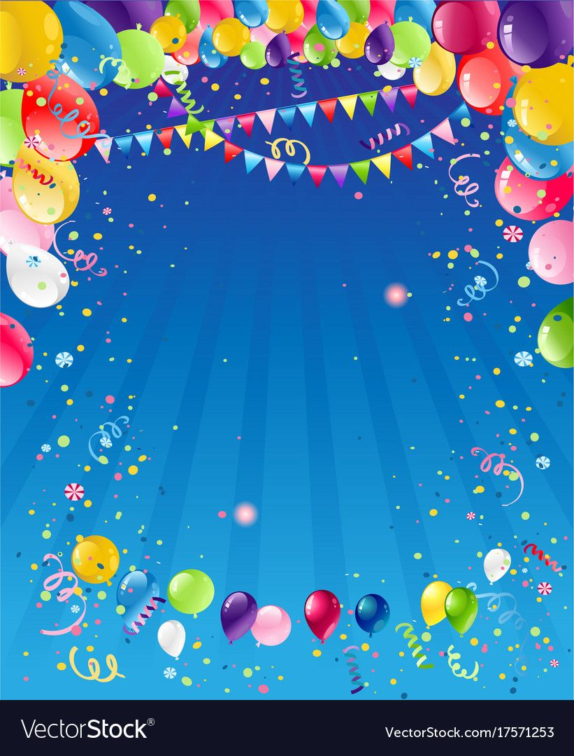 Blue birthday background vector image on Birthday
