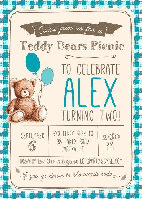 Gingham Teddy Bears Picnic Birthday Invitation Unisex Invite Kids Printable Invitations Boys