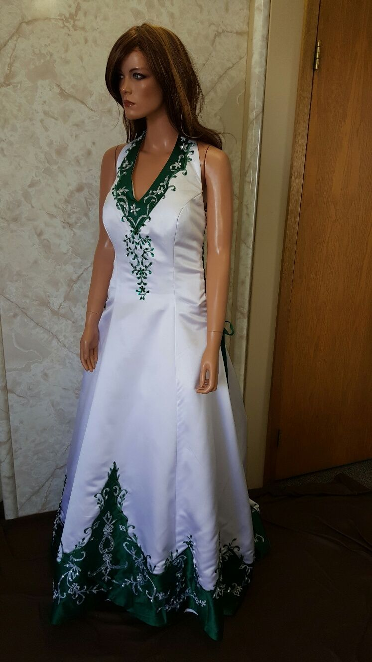 ddc399bfc26 white and emerald green side corset wedding gown