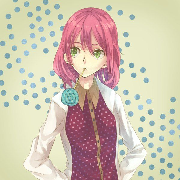 Anime Picture 1500x1500 With Original Tomaeda Bravered Girl Single Short Hair Green Eyes Pink Hair Open Anime Pink Short Hair Green Eyes