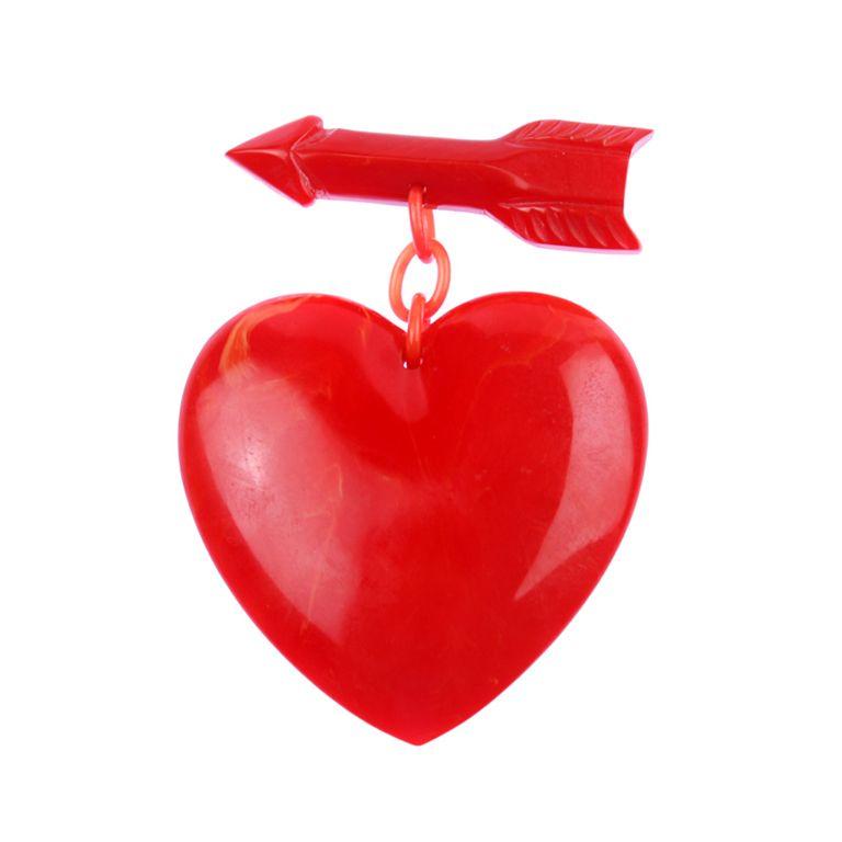 Large Bakelite Heart and Arrow Brooch
