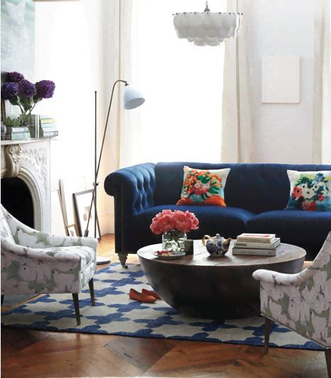 Navy Tufted Couch Eclectic Living Room Home Decor Living Room