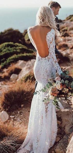 Sexy Backless Lace Mermaid Günstige Brautkleider Online, Langarm Brautkleider, …