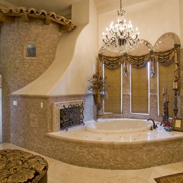 Bathroom Fit For A Queen! DO YOU SEE THE FIREPLACE!?!? This