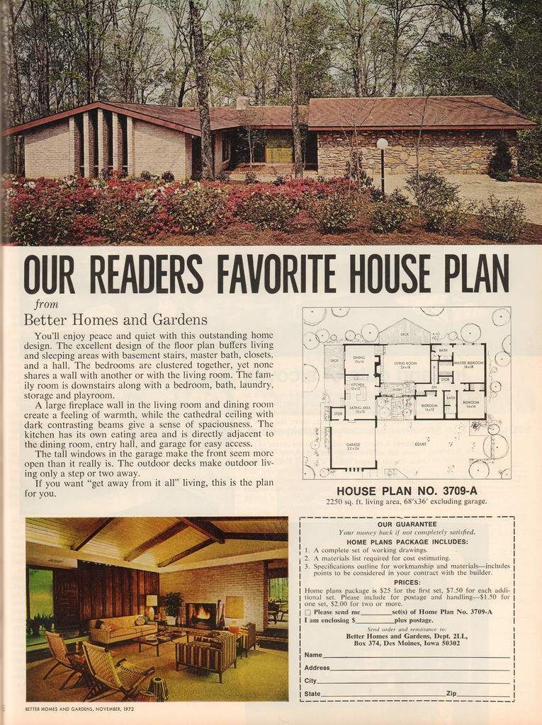 The Vintage Home Better Homes And Gardens 1972 Flashbak Mid Century Modern House Plans Vintage House House Plans