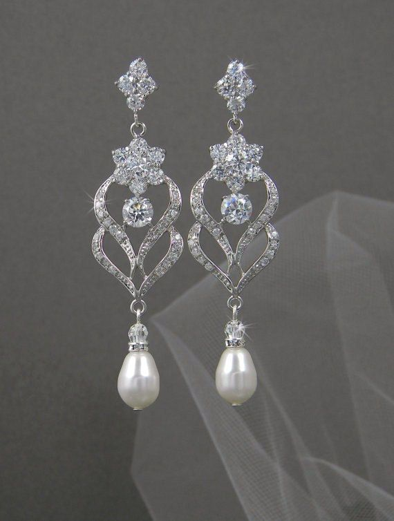 Bridal Earrings Wedding Jewelry Chandelier Swarovski Crystal Bridesmaids Kathryn