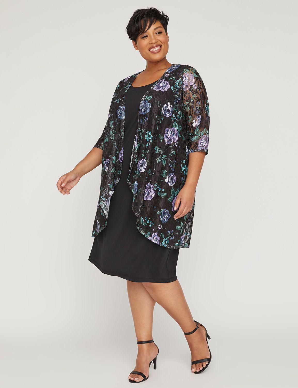 Elegant Floral Lace Jacket Dress Jacket Dress Lace Jacket Dress Classic Black Dress